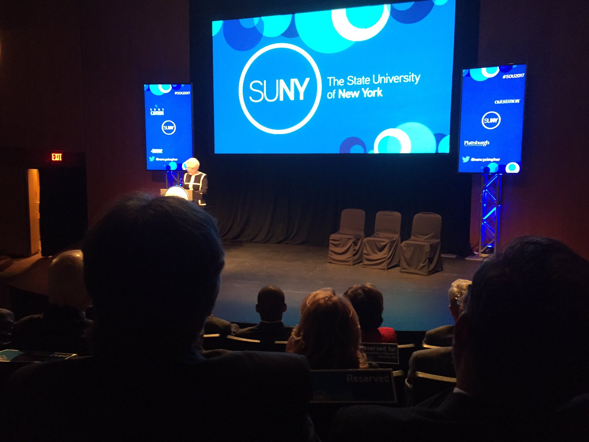 @nancyzimpher takes the stage for her final @SUNY SOU address. Proud to be representing @HudsonValleyCC here! #SOU2017 https://t.co/b2Wz2wyjMN