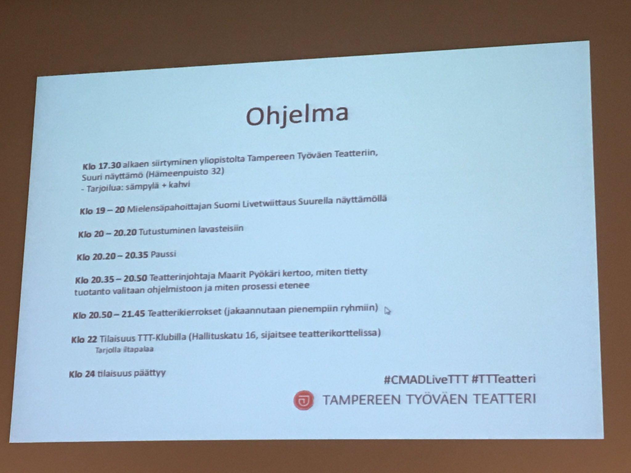 Klo 18 alkaen #cmadfi jatkot Tampereen Työväen Teatterissa, verkostoitumista & päivän purkua #TTTeatteri #CMADLiveTTT https://t.co/pfzcPl0h9Z