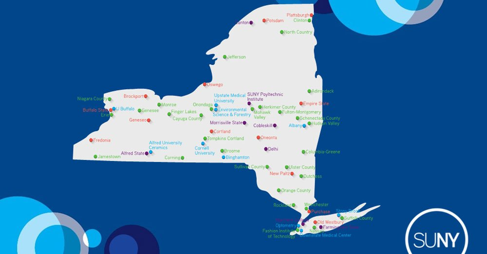 THE State University of New York is THE only university that serves every region of the state. A SUNY map is a map of NYS. #SOU2017 https://t.co/oo9WkcqVu9