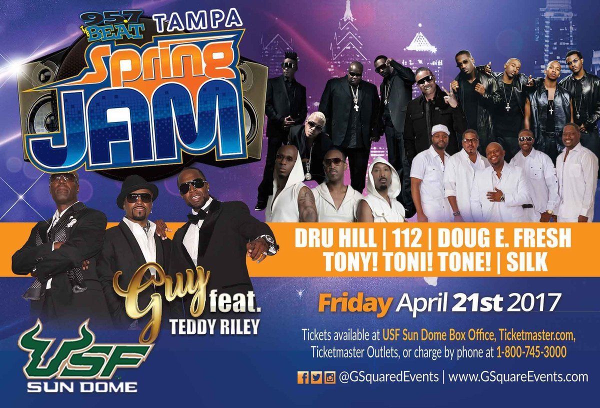 JUST ANNOUNCED! #Guy with @TeddyRiley1 @DruHill4Real #112 @TonyToniTone1 @RealDougEFresh &amp; @SILKfans April 21st @USF_SunDome #TampaSpringJam<br>http://pic.twitter.com/rOP0iNZ6ev