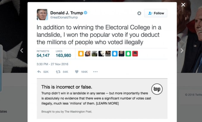 We built Chrome and Firefox extensions that allow you to fact check the @realDonaldTrump and @POTUS accounts https://t.co/nEJe3viR39