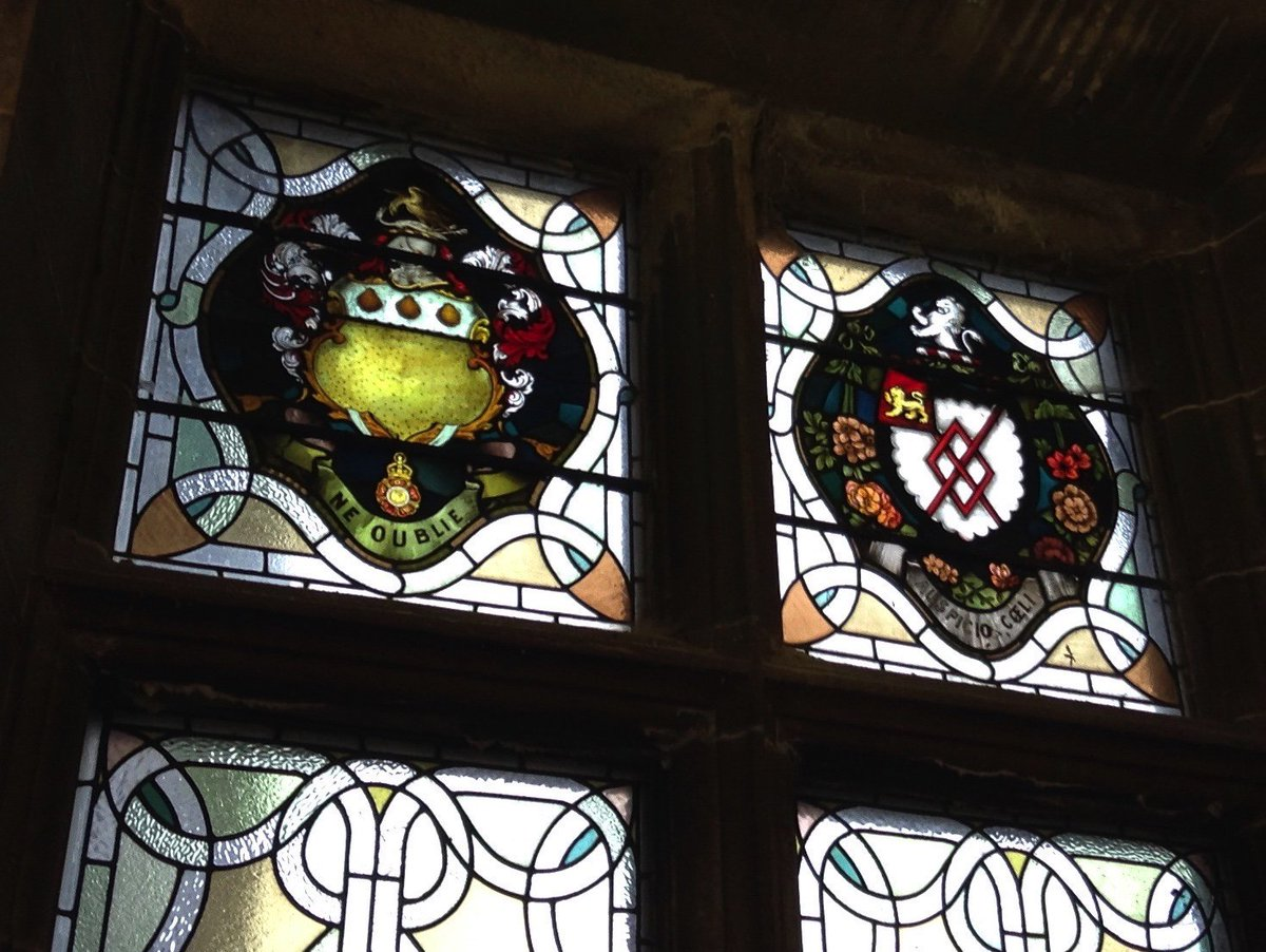 Stained glass window (right) with lion, at Airthrey Castle, Stirling. #MewseumMonday