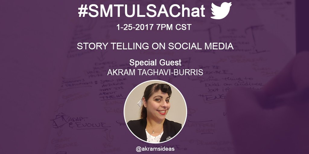 Join us Wednesday @ 7PM CST as #smtulsa speaker @akramsideas joins #smtulsachat to talk about Story Telling on Social Media. https://t.co/vxqFhKGgFO