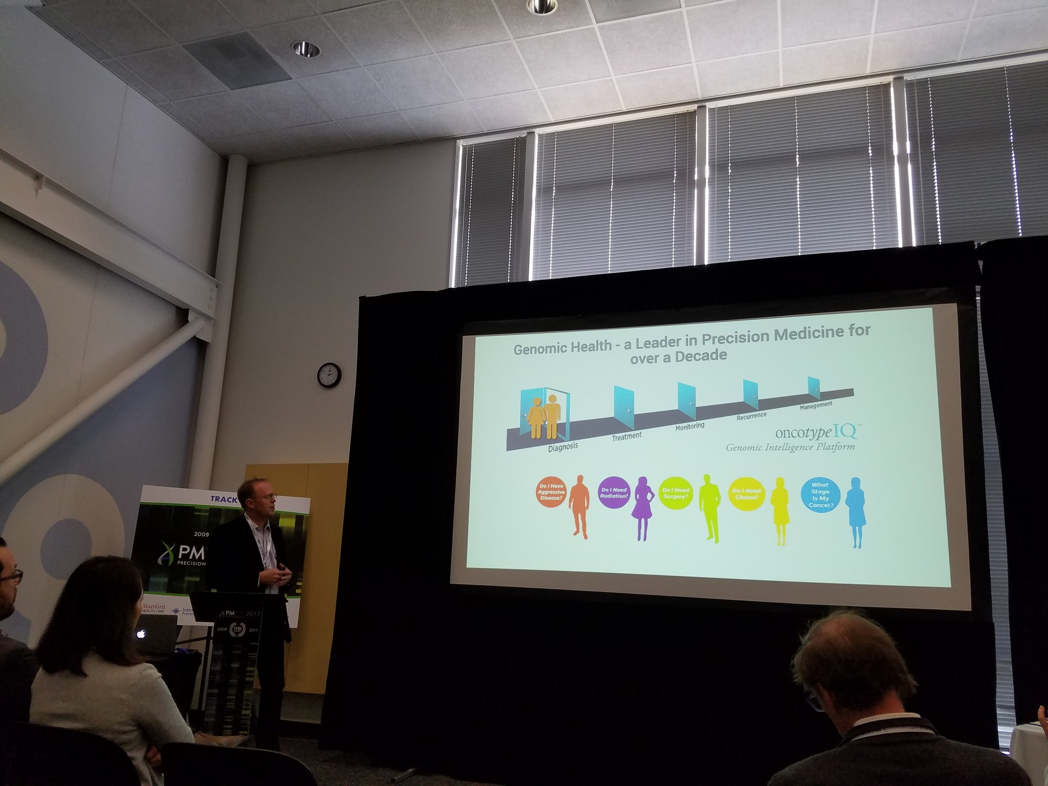 Dr. Baehner discussing @GenomicHealth providing value-based care in the era of #precisionmedicine through @oncotypeIQ Platform at #PMWC17 https://t.co/rt29cdSupB