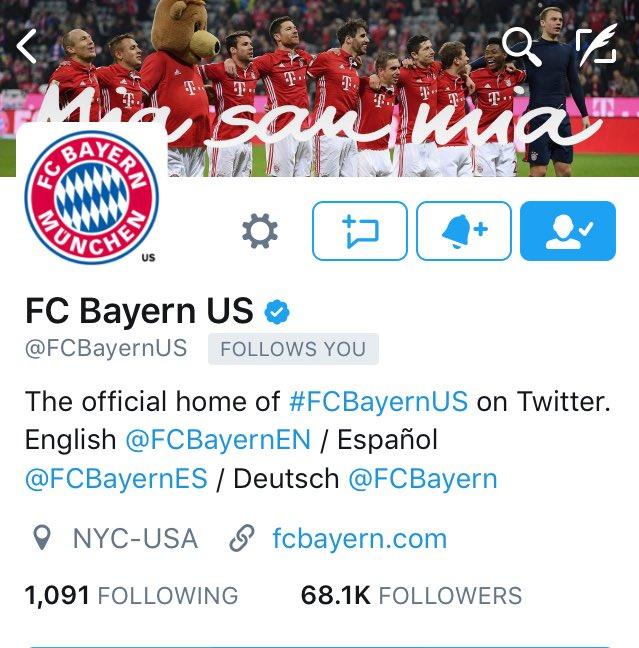 When your favourite football team follows you @FCBayernUS 😊🔴⚪️ #MiaSan...