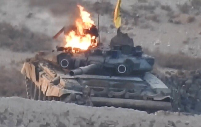 Горящий Т-90 в районе Ханассера
