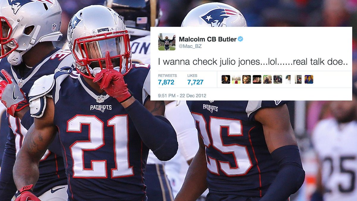 Nfl Update On Twitter In 2012 Malcolm Butler Tweeted This About Julio Jones Super Bowl 51 Awaits Via Espn