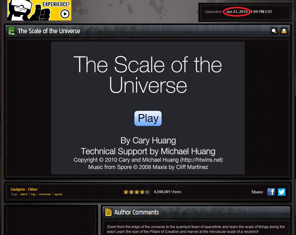 cary huang on twitter the scale of the universe is now 7 years old
