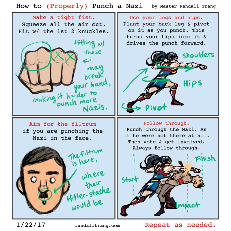 comic by Master Randall Trang on proper punching technique