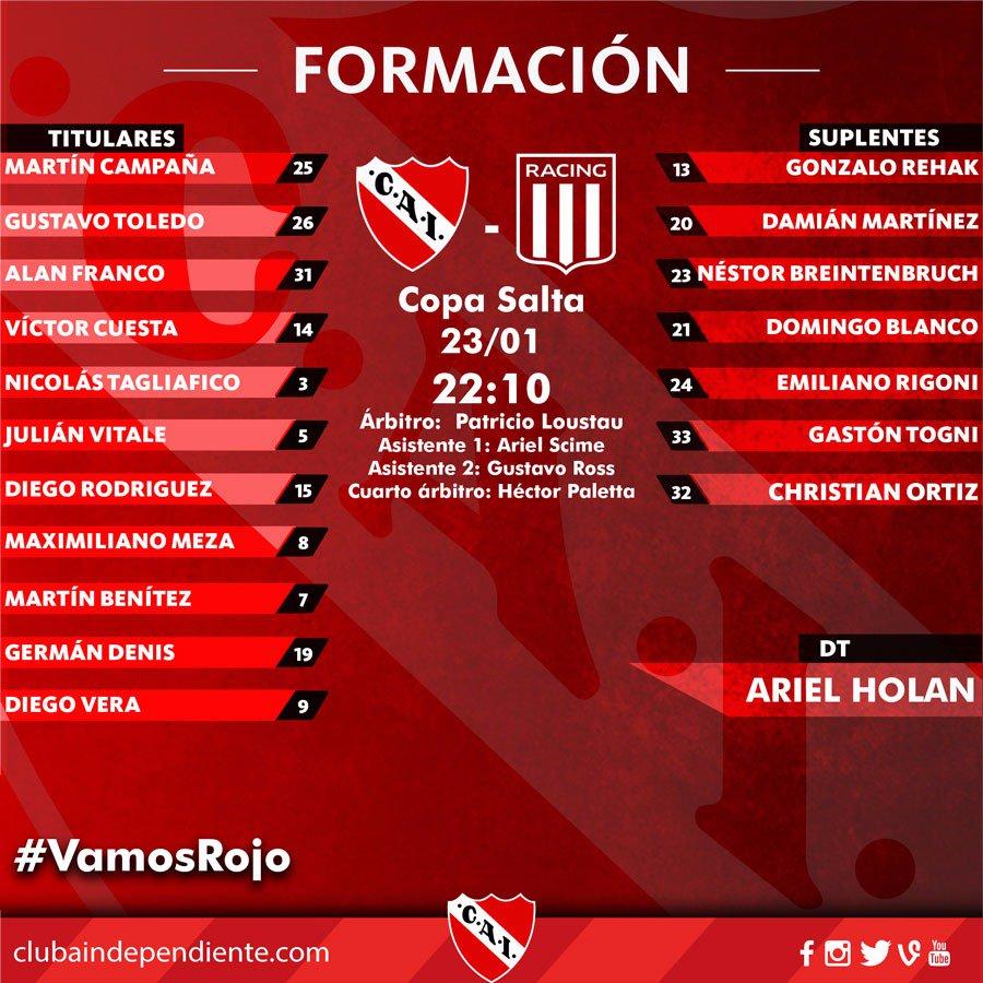 #CopaSalta - Esta es la formación completa del Rojo para enfrentar a @...