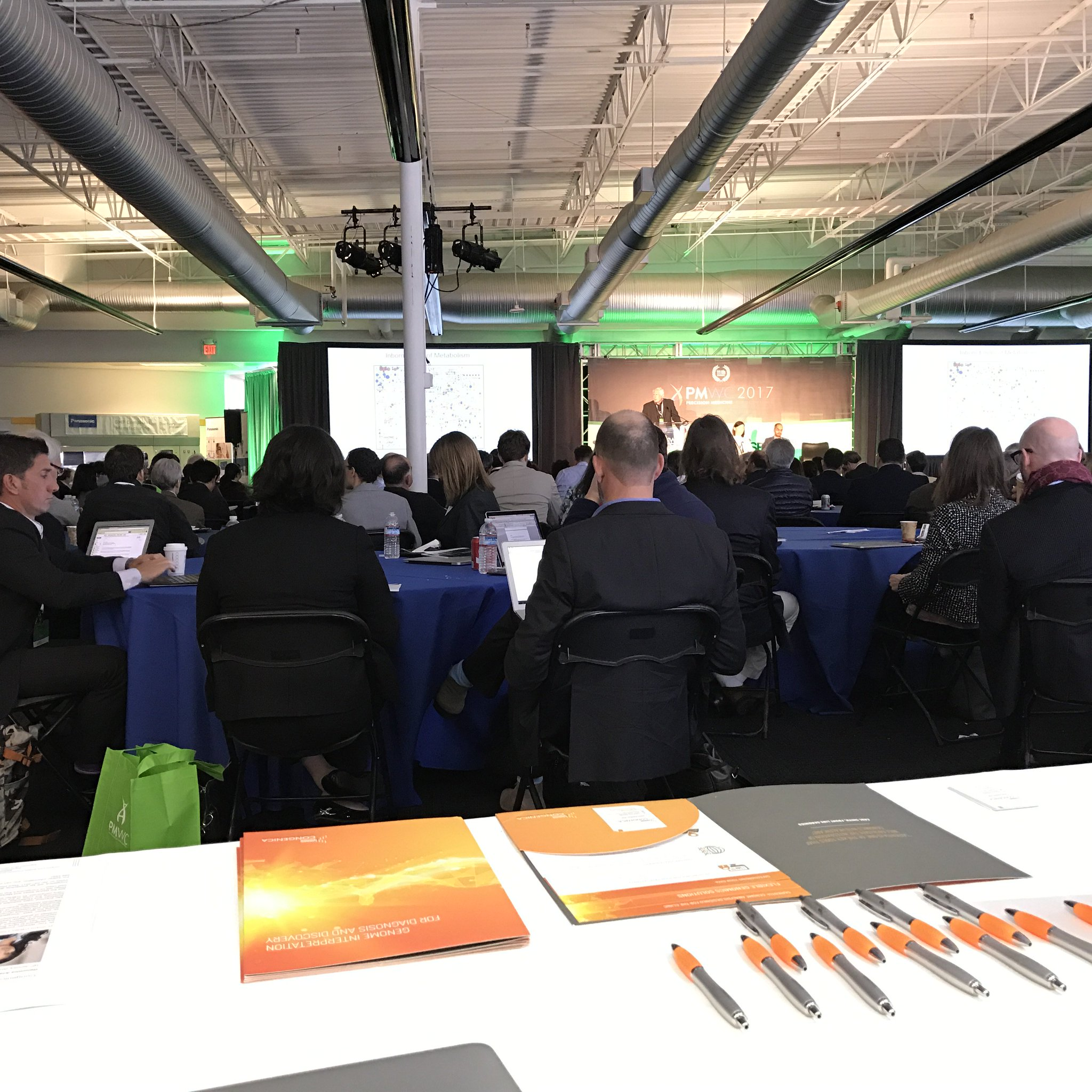 Finally a conference where we can man the booth AND attend the talks at the same time! #PMWC17 @Congenica booth 26 https://t.co/pzShRA6B9a
