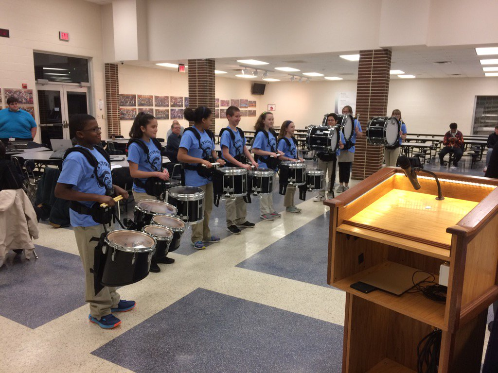 PMS Club Drumline doing a great job presenting to the board. Nice job students and Mrs. German! https://t.co/ky2NLkkZGv