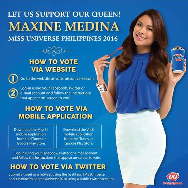 Show your love & support for our very own #DairyQueenPH Miss Universe Philippines @itsMaxineMedina! See details below on how to vote. #4M4MU https://t.co/sCvjLBpc0t
