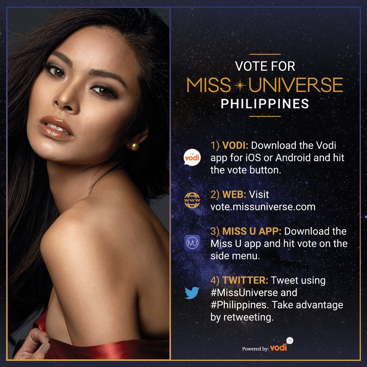 Voting for #MissUniverse is officially OPEN. RT to vote for Miss Universe #Philippines!   Watch her LIVE: Sunday Jan. 29 at 7/6 on @FOXTV.