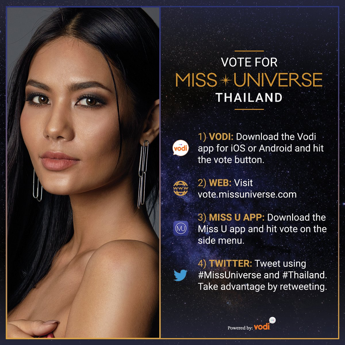 Voting for #MissUniverse is officially OPEN. RT to vote for Miss Universe #Thailand   Watch her LIVE: Sunday Jan. 29 at 7/6 on @FOXTV.