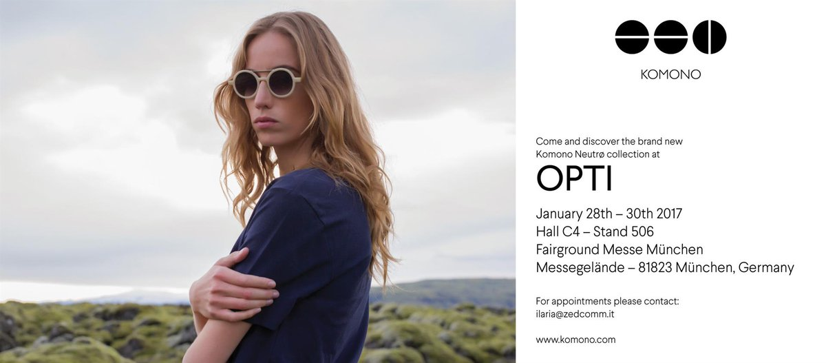 Ready for #Opti2017? We are, as well as @KOMONO! Come to discover the new exciting collection at Hall C4 Booth 506! #komono #OptiMunich https://t.co/pOry50LJ7K