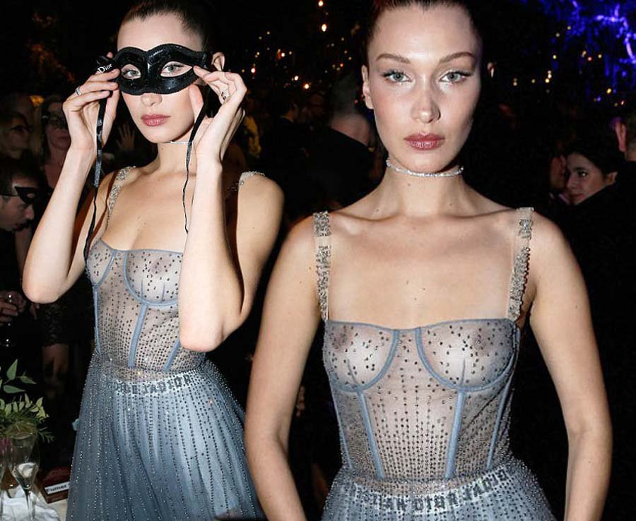 a1f82789ed6f bella hadid flashes her nipples in completely see through dress at  diorcouture ball