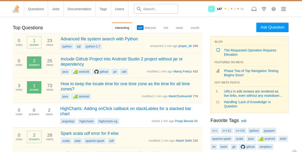 Did @StackOverflow just roll out a new UI ? #stackoverflow . Me gusta !