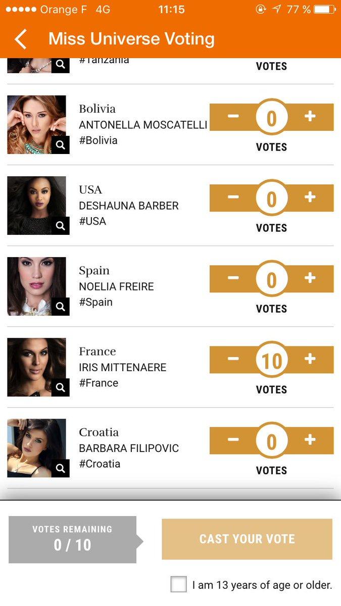 Petit rituel pendant une semaine! On vote pour @IrisMittenaereO sur l&#39;appli Vodi 10x par jour! Ou en tweetant #MissUniverse #France  <br>http://pic.twitter.com/yalygYTAvn