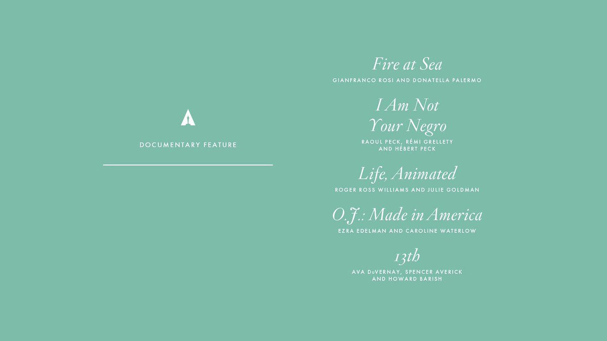 Congrats to our Documentary Feature nominees! #Oscars #OscarNoms https...
