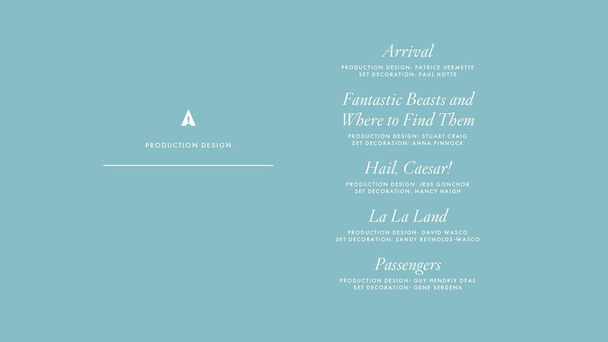 Congrats to our Production Design nominees! #Oscars #OscarNoms https:/...