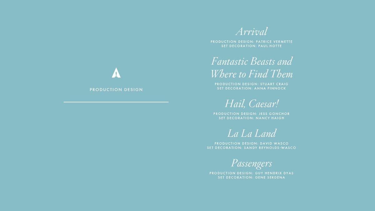 Congrats to our Production Design nominees! #Oscars #OscarNoms https:/...