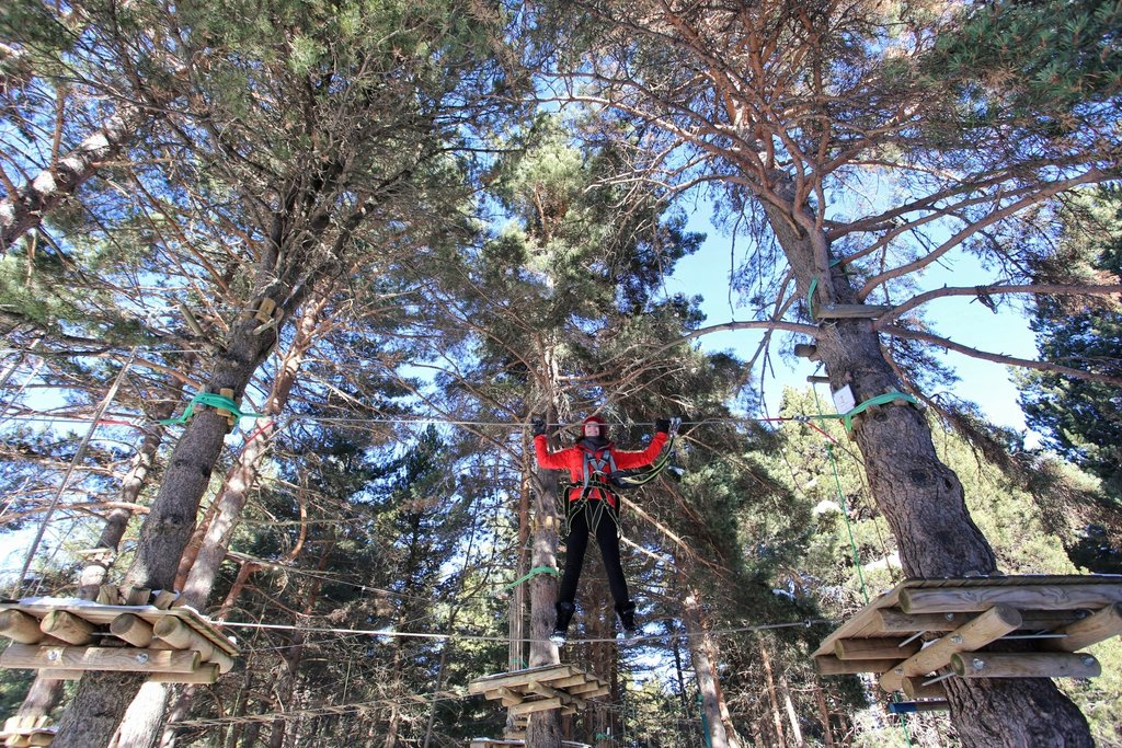 Jess hanging out in the trees at the @AltitudExtrem Parc Aventura! So much fun :) #inPyrenees #visitPyrenees https://t.co/OI0eMznusO