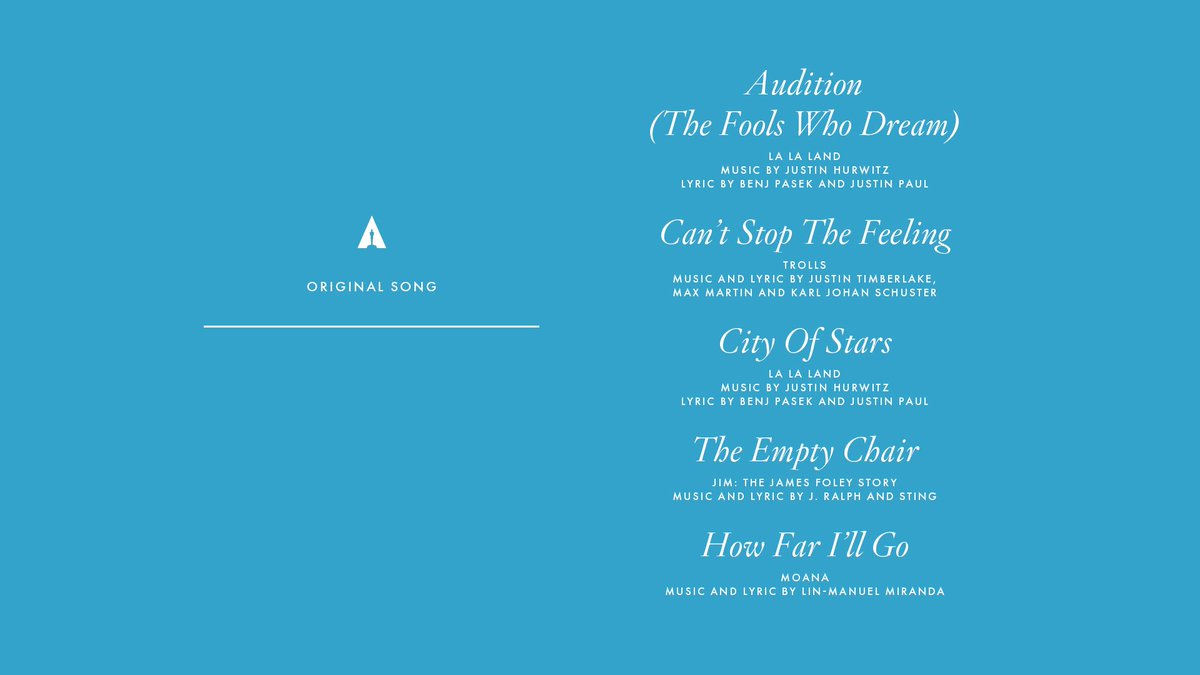 Congrats to our Original Song nominees! #Oscars #OscarNoms https://t.c...