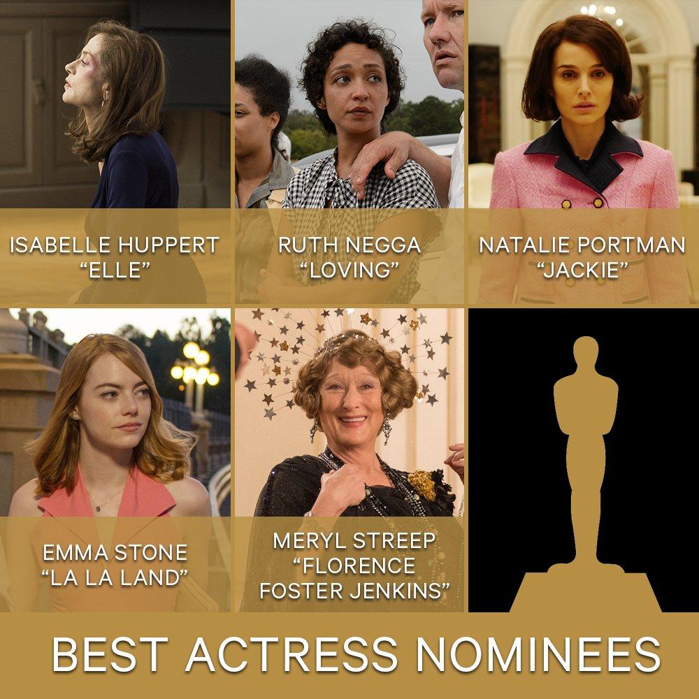 #OscarNoms: Best actress Isabelle Huppert Ruth Negga Natalie Portman E...