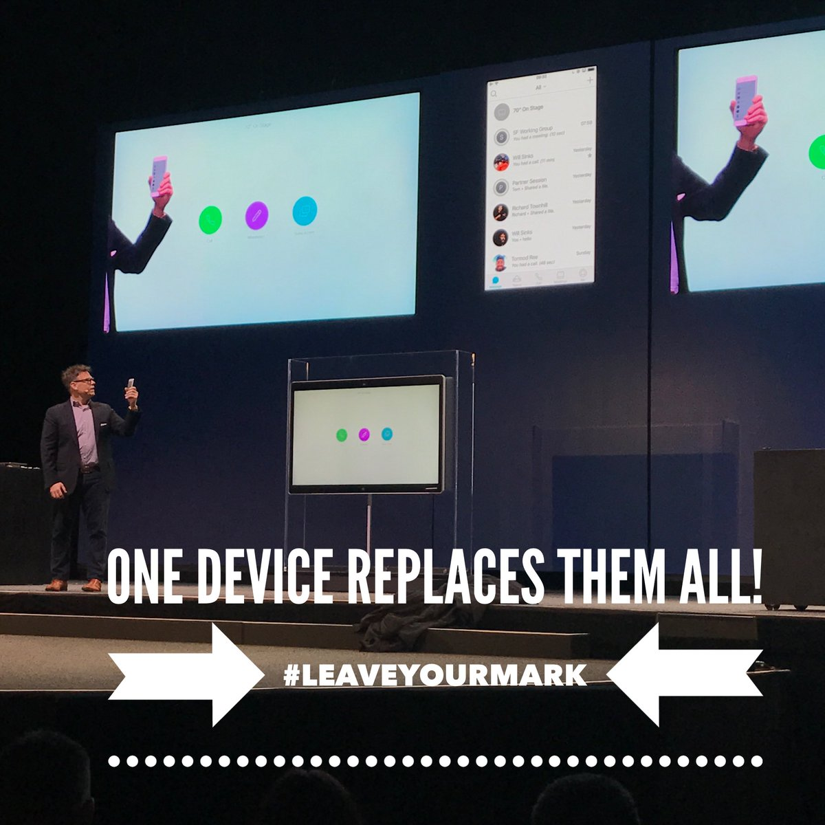 Today's entire @CiscoSpark launch event summed up in a photo. #Collaboration #Leaveyourmark #DigitalTransformation https://t.co/yBVOEwd7VT