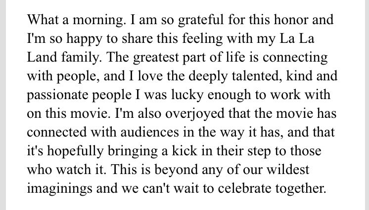 Here's a STATEMENT from #LaLaLand Best Actress Oscar-nominee  #EmmaSto...