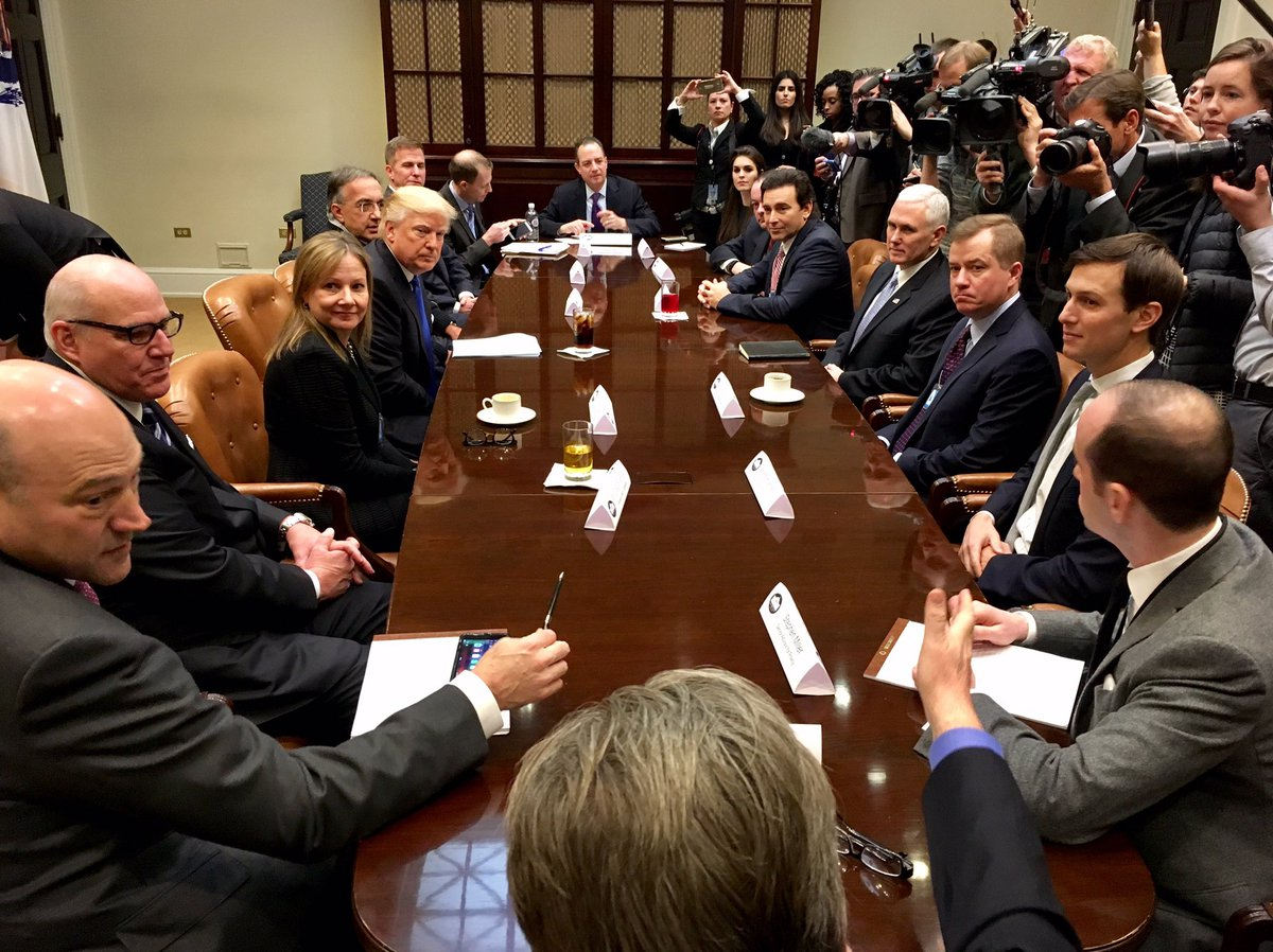 Good discussion with President @realDonaldTrump and automotive leaders about creating new auto jobs in the U.S. 🇺🇸