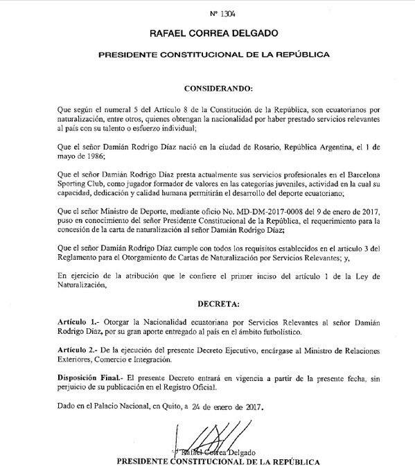 Damián Díaz ya es ecuatoriano https://t.co/uEigTD89Fn