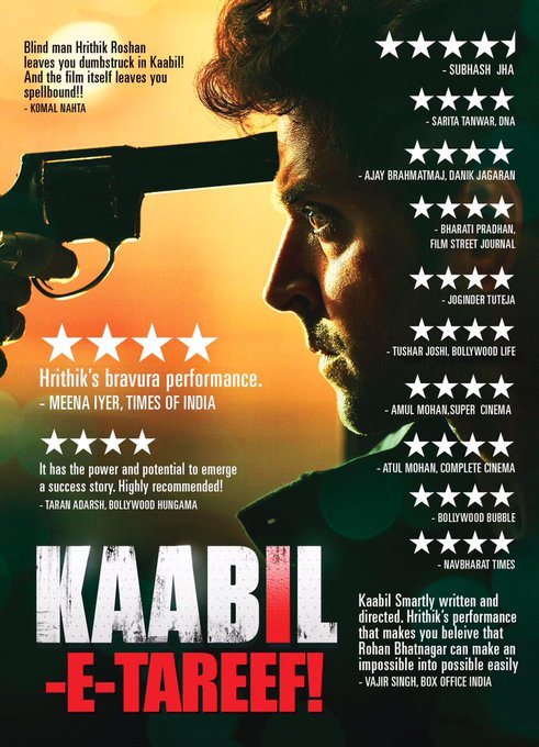 #KaabilETareef much! Receiving great reviews Thank you all for the love & blessings. Go watch #KaabilTomorrow & tell me how you'll liked it. https://t.co/fJVQ5Lumvb