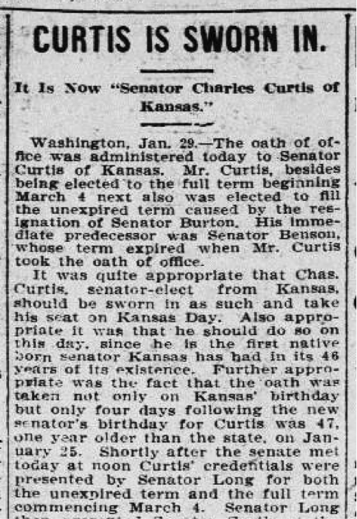 #OTD 1907 Charles Curtis of Kansas becomes the 1st Native American US Senator. More: https://t.co/0nXZk44El3 #ChronAm https://t.co/SwV8zN653W
