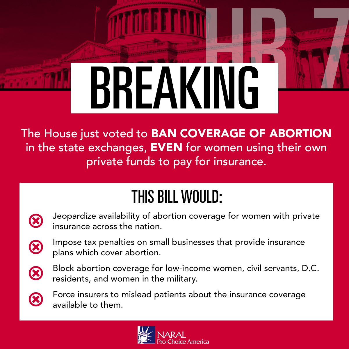 Republicans in Congress will stop at NOTHING to try to make it impossible to access abortion. #HR7 https://t.co/Sb0R0v6zOM