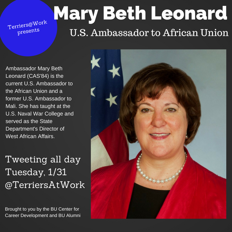 Thumbnail for Terriers@Work Presents: Mary Beth Leonard (CAS'84), U.S. Ambassador to the African Union