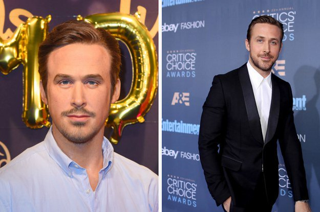 This is a very unfortunate wax figure of Ryan Gosling