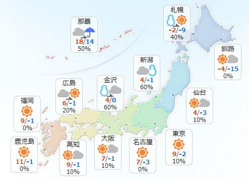 【1月25日(水)】山陰から東北の日本海側は雪が降りますが、午後は次第に弱まってきそうです。 北海道…