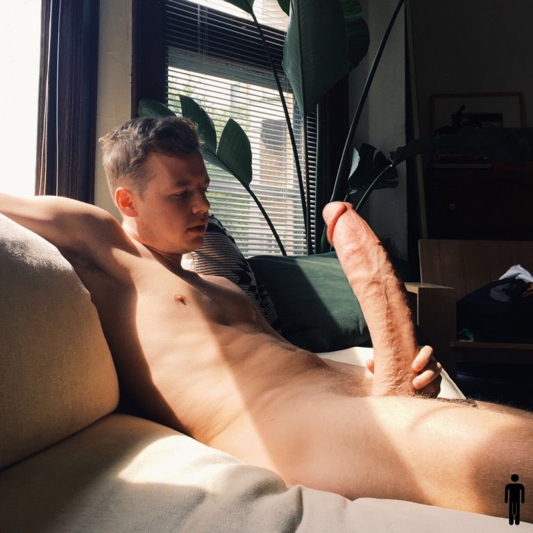 Cute guy showing big soft cut cock