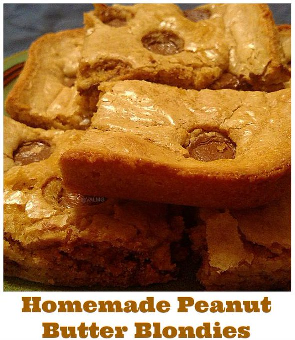 Homemade Peanut Butter Blondies #Recipe