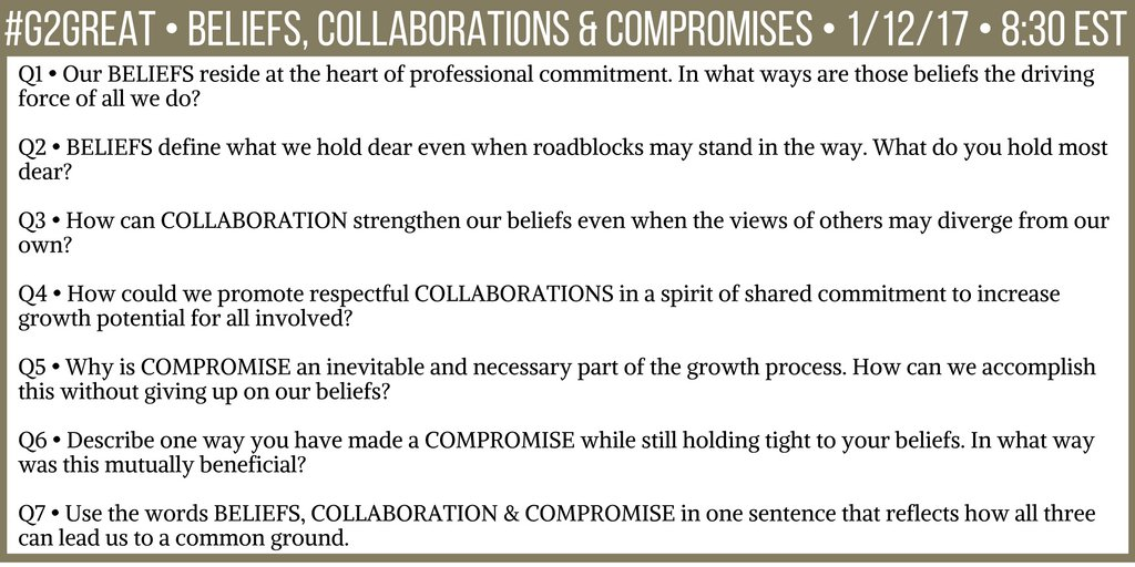 Thinking about how beliefs, collaboration and compromise are factors for innovation. Join us tonight here are our #G2Great Qs: https://t.co/t7c3UUUC7q