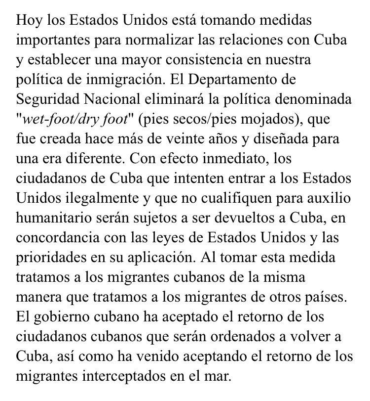 Anuncio de @POTUS sobre la politica de pies secos/pies mojados con #Cuba.