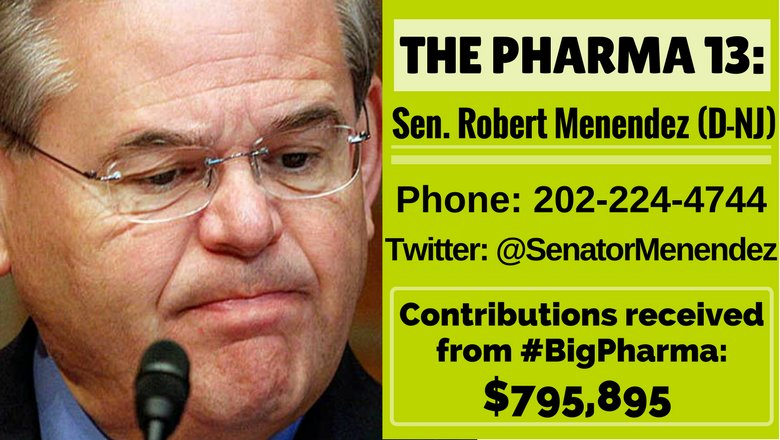 Dem @SenatorMenendez voted against access to affordable Rx meds. He also took $800k from #BigPharma. Coincidence? #ThursdayThought #Pharma13<br>http://pic.twitter.com/KZnf4A51yl