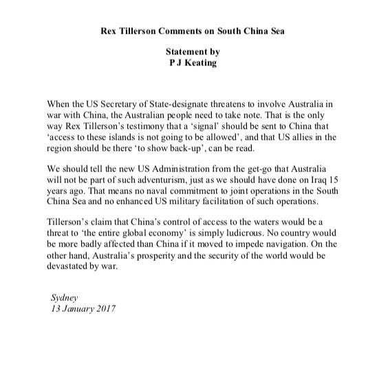 Former PM Paul Keating weighs in on Rex Tillerson & the South China Sea. https://t.co/Forw8fJLcB