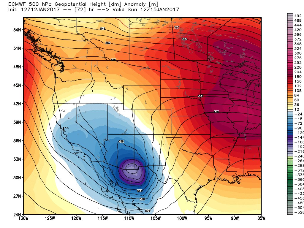 Sunday to Monday:  First two images...EURO Deterministic storm track.  Second two images...EURO Ensemble Mean storm track #cowx #agreement <br>http://pic.twitter.com/QOgh8GT4RX