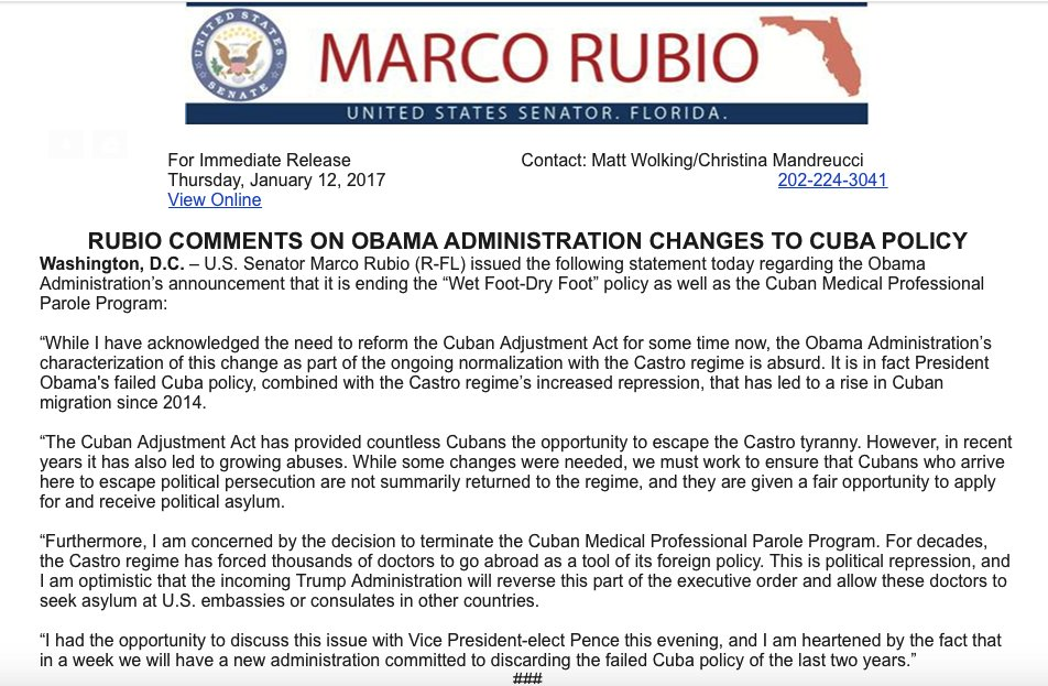 #Rubio Comments On Obama Administration Changes To Cuba Policy! #Sayfie #Flpol #Flsen<br>http://pic.twitter.com/QX0pnHPiQi