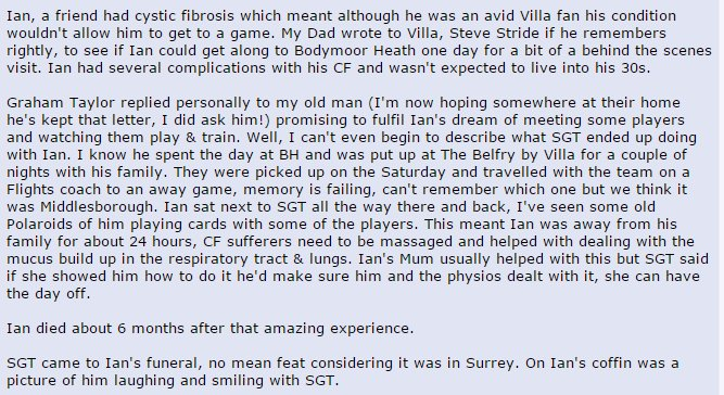Awesome story of Graham Taylor and a Villa fan with Cystic Fibrosis. https://t.co/WymaCxsYFQ