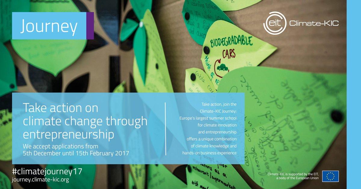 Les candidatures à l&#39;école d&#39;été #Climate-KIC: the Journey 2017 sont ouvertes jusqu&#39;au 15 février:  https:// journey.climate-kic.org / &nbsp;   #climatejourney17<br>http://pic.twitter.com/ax4ABE6lcl
