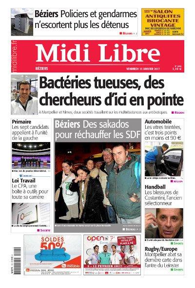 #MidiLibre Bonjour Béziers ! Aujourd&#39;hui, vendredi 13 janvier, à la Une de @MLBeziers #BactériesTueuses #Sakado #PrimaireLeDebat #LoiTravail<br>http://pic.twitter.com/CrIzSOKv8H